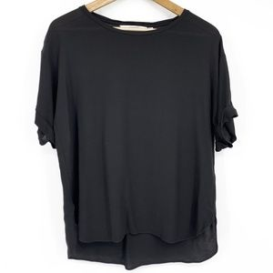 & Other Stories Sheer Rolled Sleeve Side Split Top